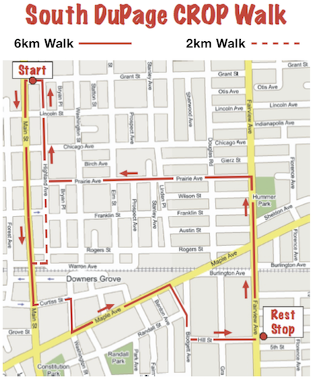 South DuPage CROP Hunger Walk Route Map